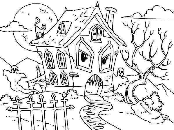 Hideous Monster House With Ghost And Cat In Haunted House Coloring Page Kids Play Color