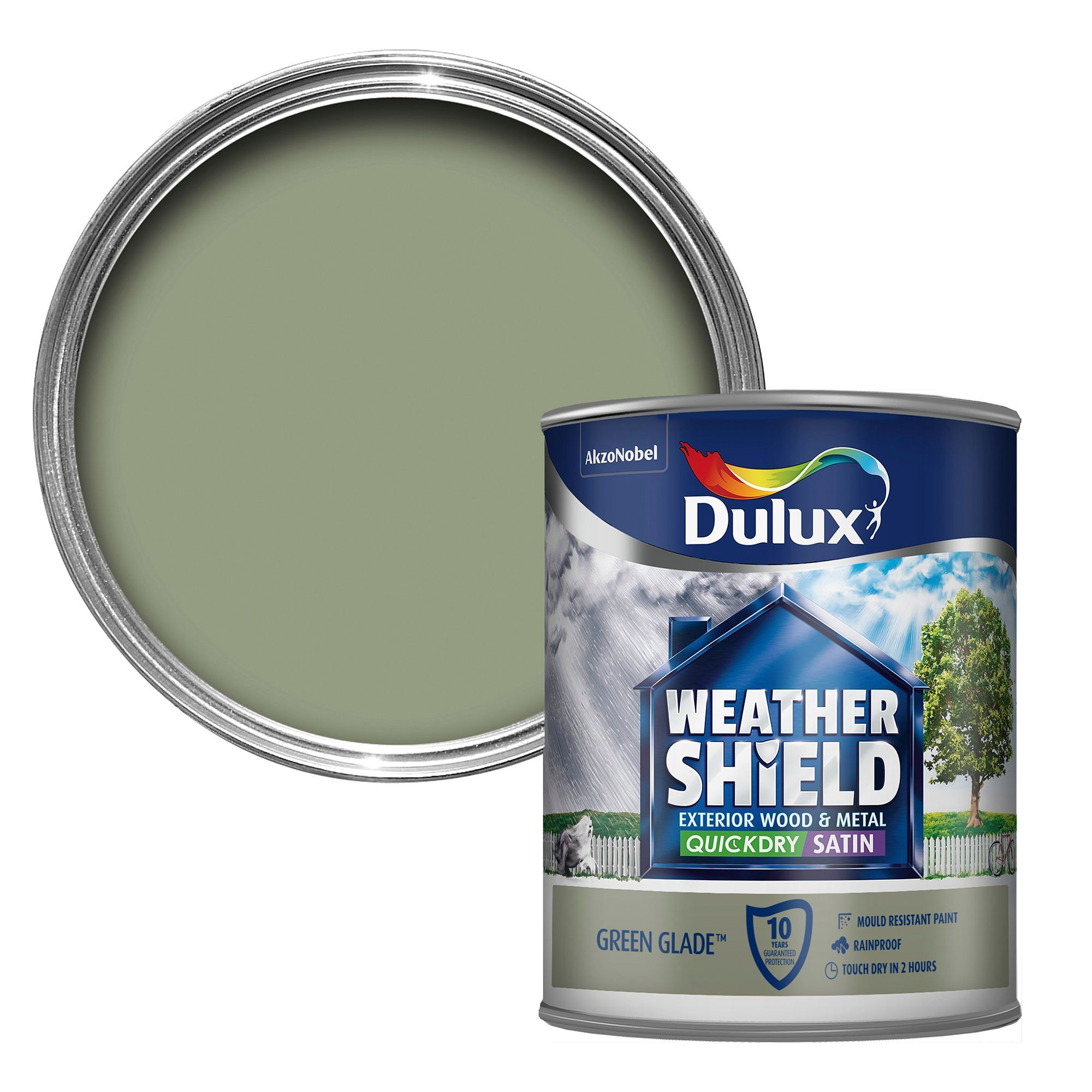 Dulux Weathershield Exterior Glade Green Satin Wood Metal Paint 750ml Departments Diy At