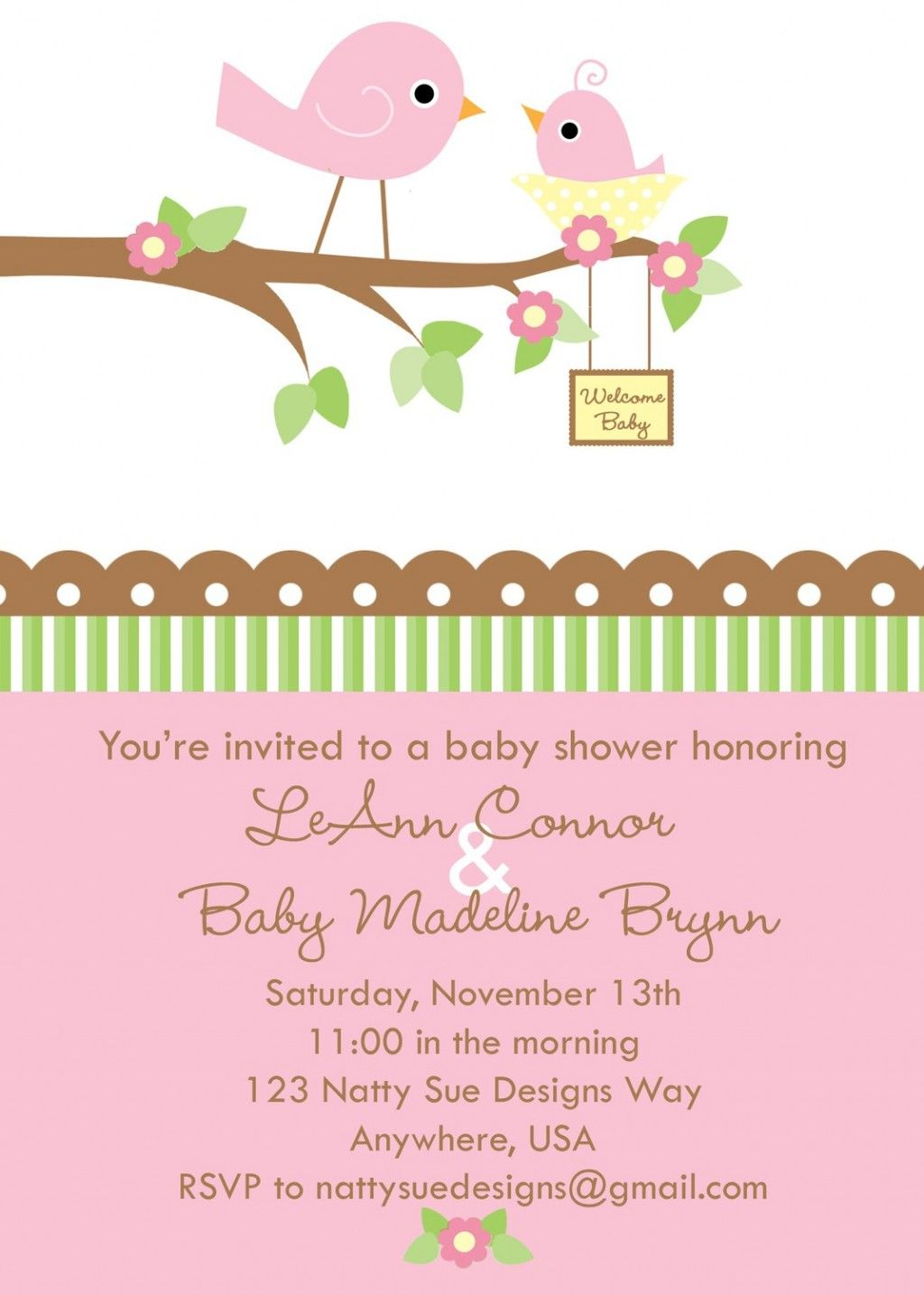 Cute Pink Mommy And Baby Bird Baby Shower Invitation With Brown Tree ...