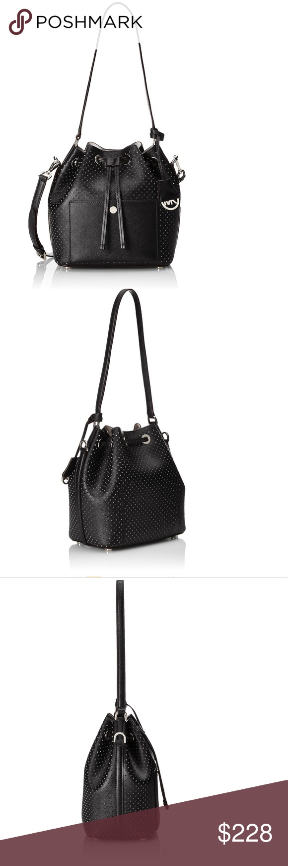 46f8953ca32e6 Michael Kors Greenwich Medium Bucket Bag Black Crafted in this season's  must-have bicolor perforated