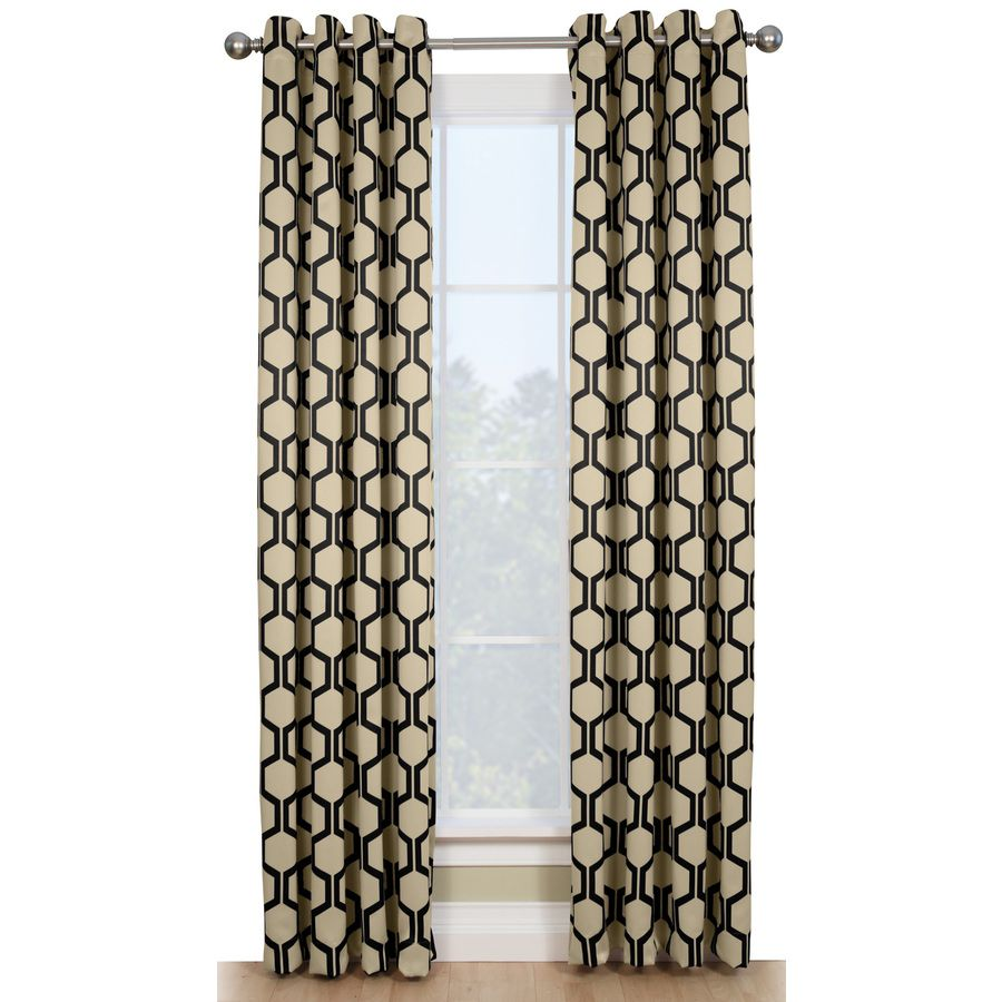 Style Selections Quinn 84 In Onyx Ivory Polyester Grommet Room