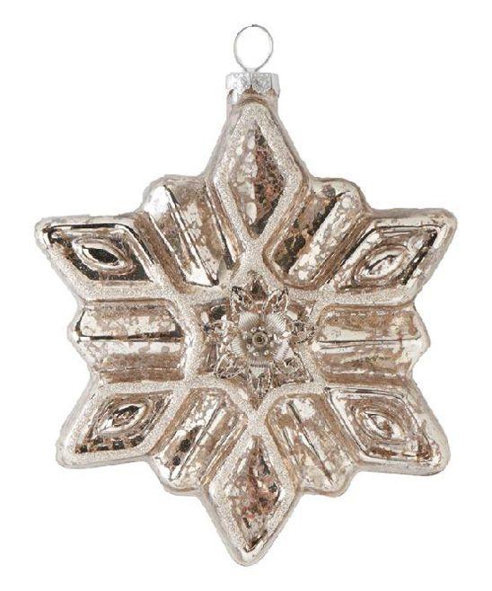 K&K Interiors Mercury Glass Glitter Snowflake Ornament | zulily