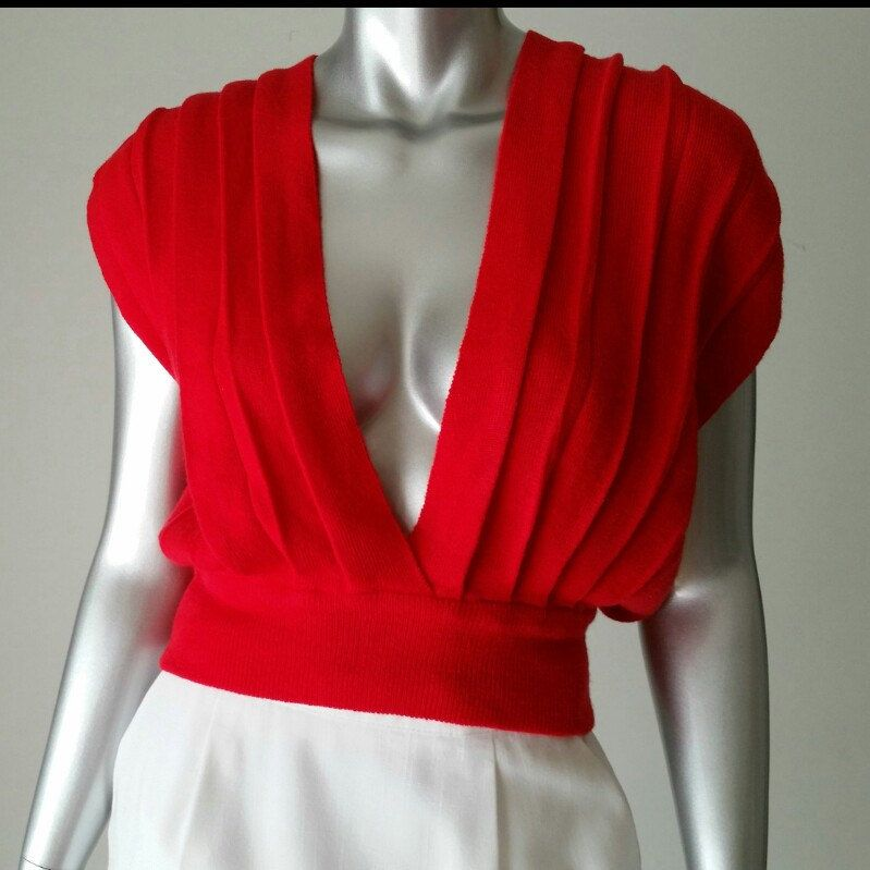 80s Red Sweater Vest | Cropped Sweater Vest | Cropped Knit Vest ...