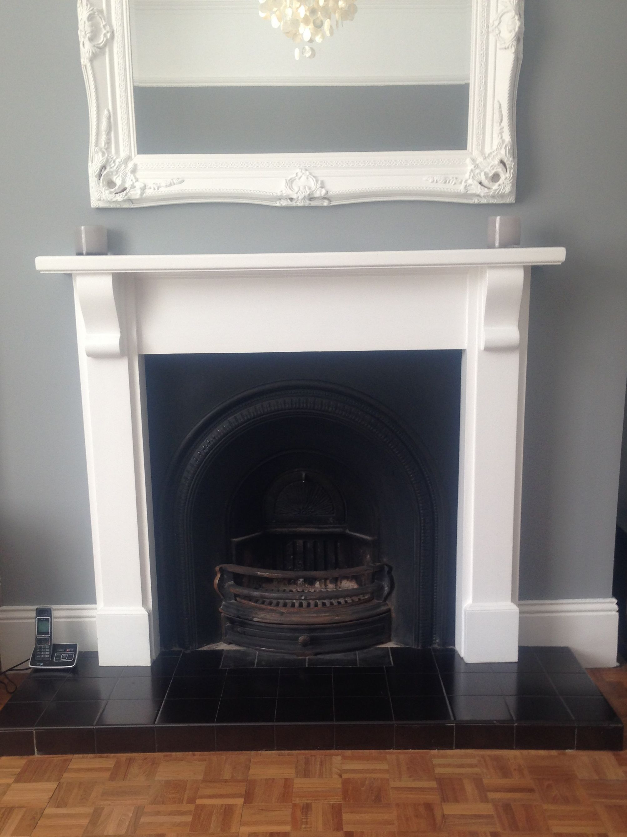 Painted Fireplace With Specialist Matt Black Paint The Surround Featured A Very Shiny Gold Pattern That Really Didn T Fit Grey Room Paint Fireplace Fireplace