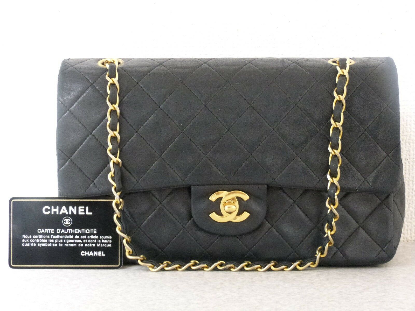 ra5412 Auth CHANEL Black Quilted Lambskin 10