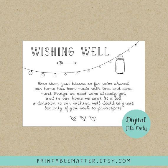 Rustic Wedding Wishing Well Card Mason Jar Kraft Wedding Printable Wedding Rustic