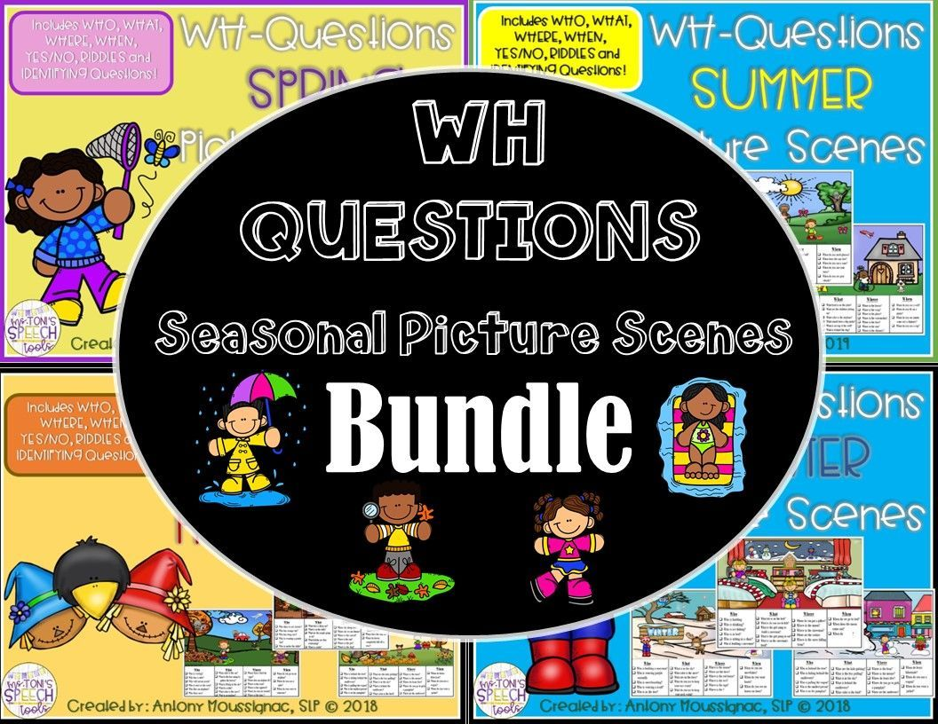 Distance Learning No Print Seasonal Wh Questions Picture