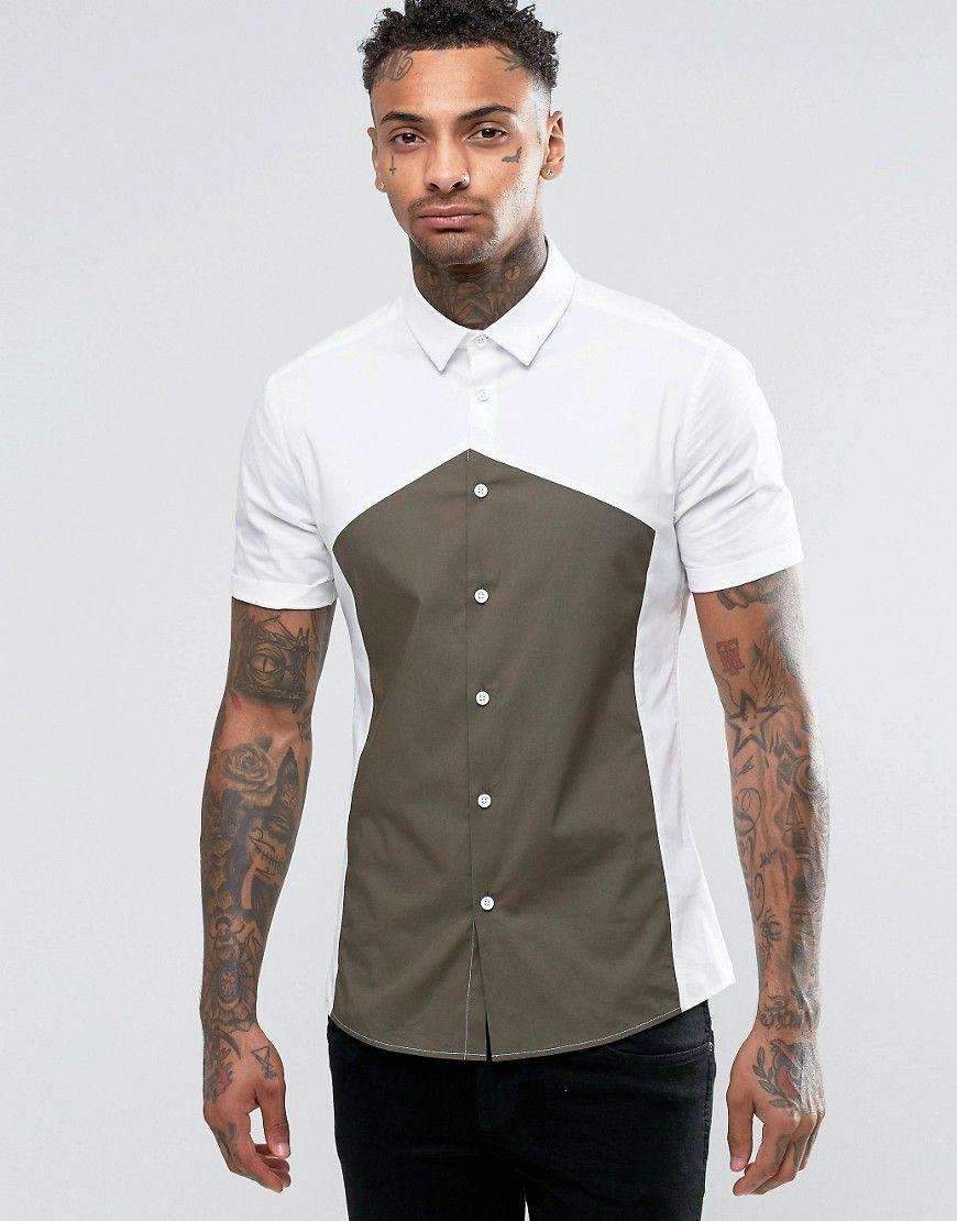 ASOS Skinny Shirt With Diamond Print In Cut And Sew at asos.com. Diamond  CutsMen ShirtsHerrinFasionPoloShort ...