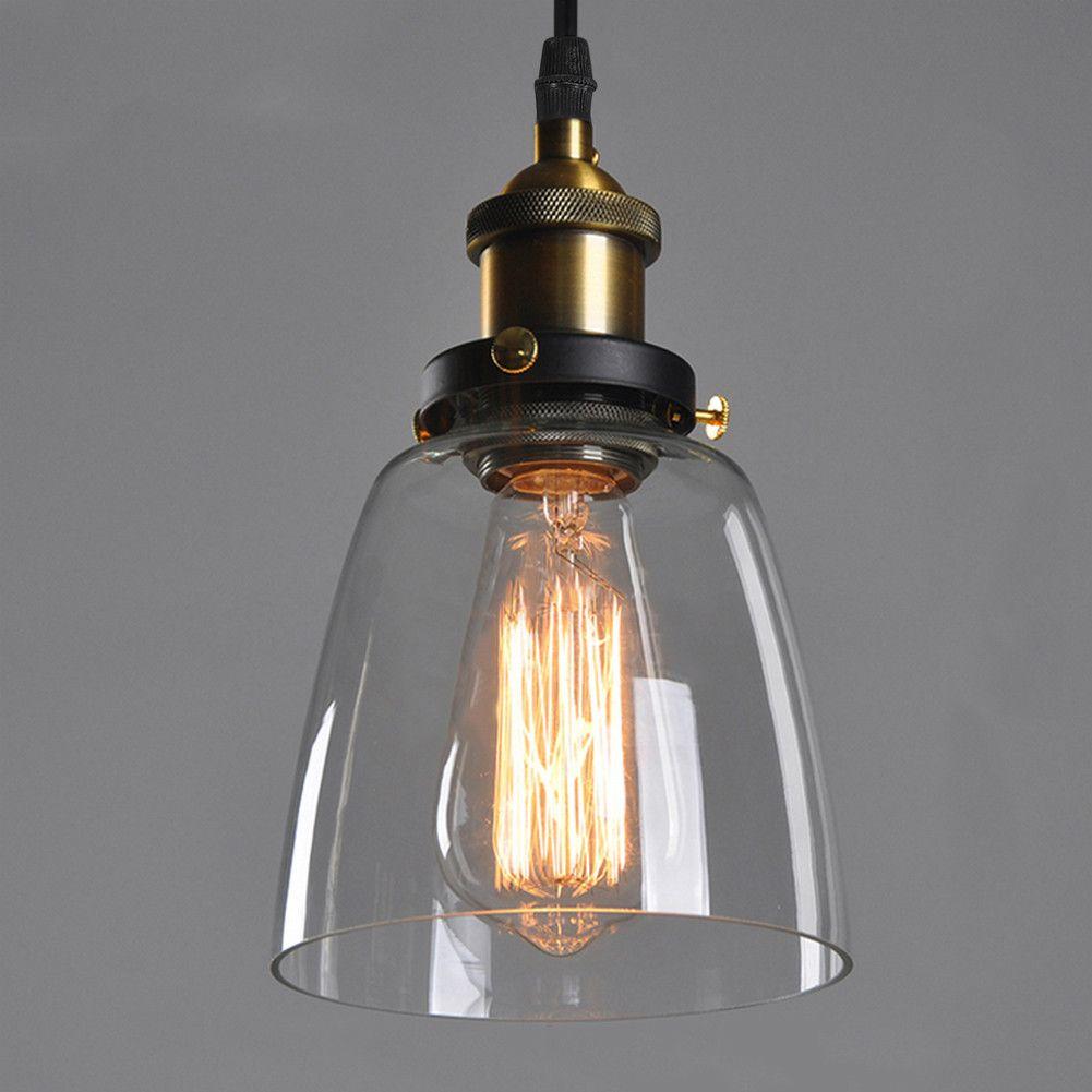Vintage Loft Glass Ceiling Lamp Shade Modern Hanging Industrial Pendant Light