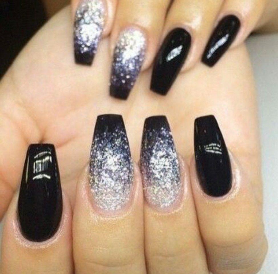 Halloween Black Glitter Nails Trendy Nails Nail Designs Cute Nails