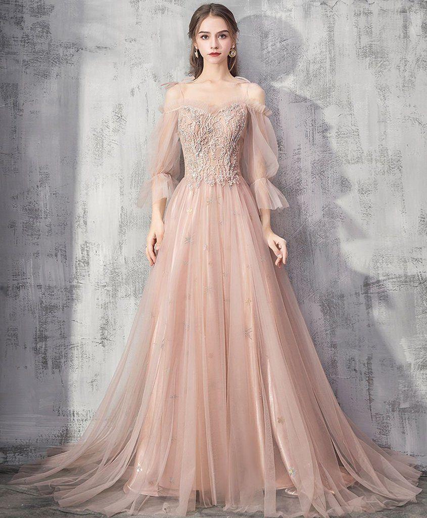 Elegant Champagne Tulle Lace Long Prom Dress Champagne Tulle Formal Dress Pakaian Pernikahan Model Baju Wanita Gaun Perempuan [ 1024 x 845 Pixel ]