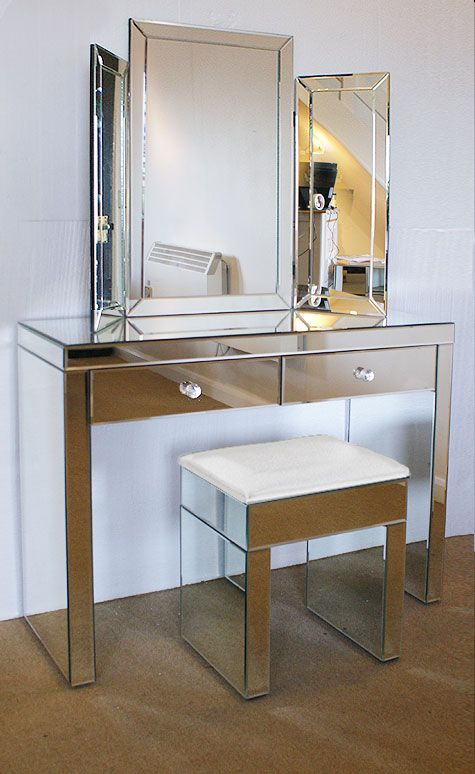 Mirrored Vanity Table And Stool: Plain Venetian Mirrored Dressing Table Set White Stool