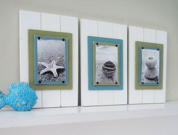Set of 3 5X7 Plank Frames in White, Turquoise and Green | Plank ...