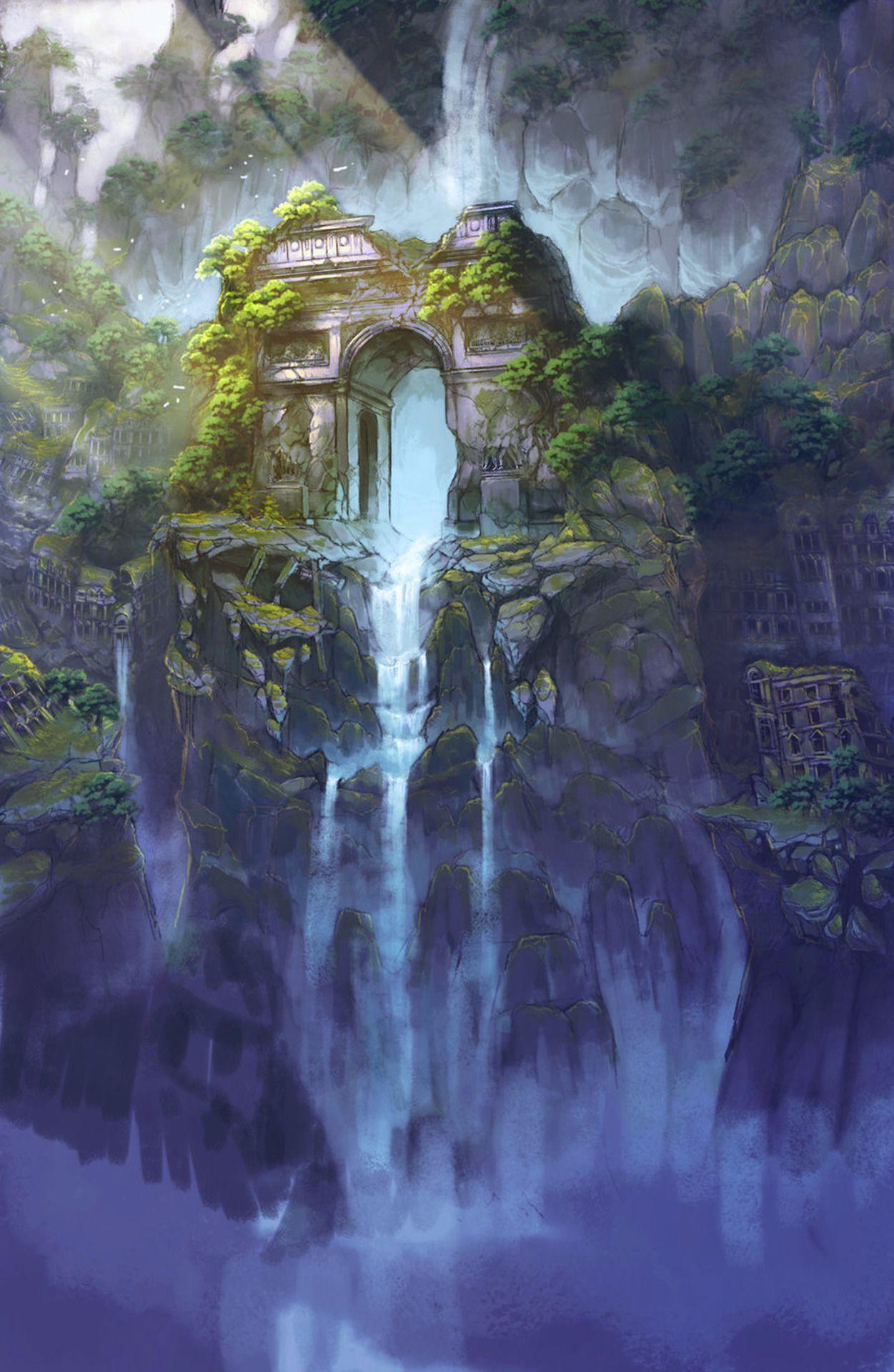 Ruins In Forest Wilds Mystic Fantasy Landscape Art
