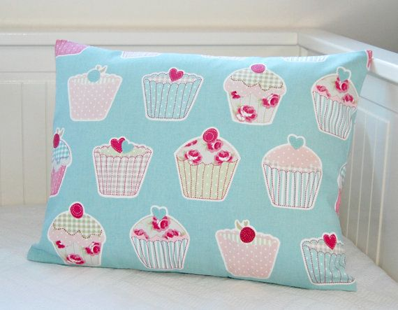 decorative pillow cover cup cakes,  blue pink sage roses polka dot stripes cushion cover 14 x 18 inch on Etsy, $24.79