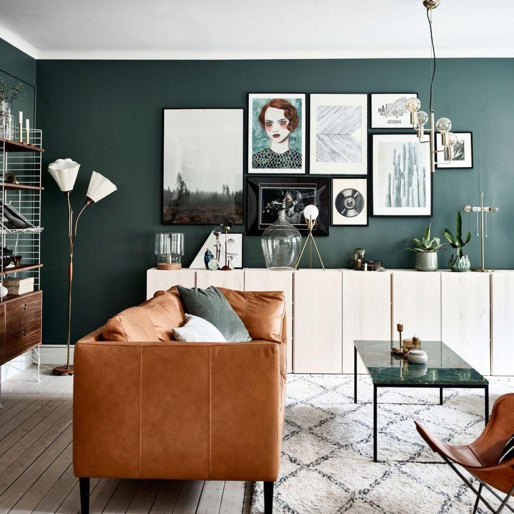 Doen een donkergroene muur in de woonkamer  Interieur