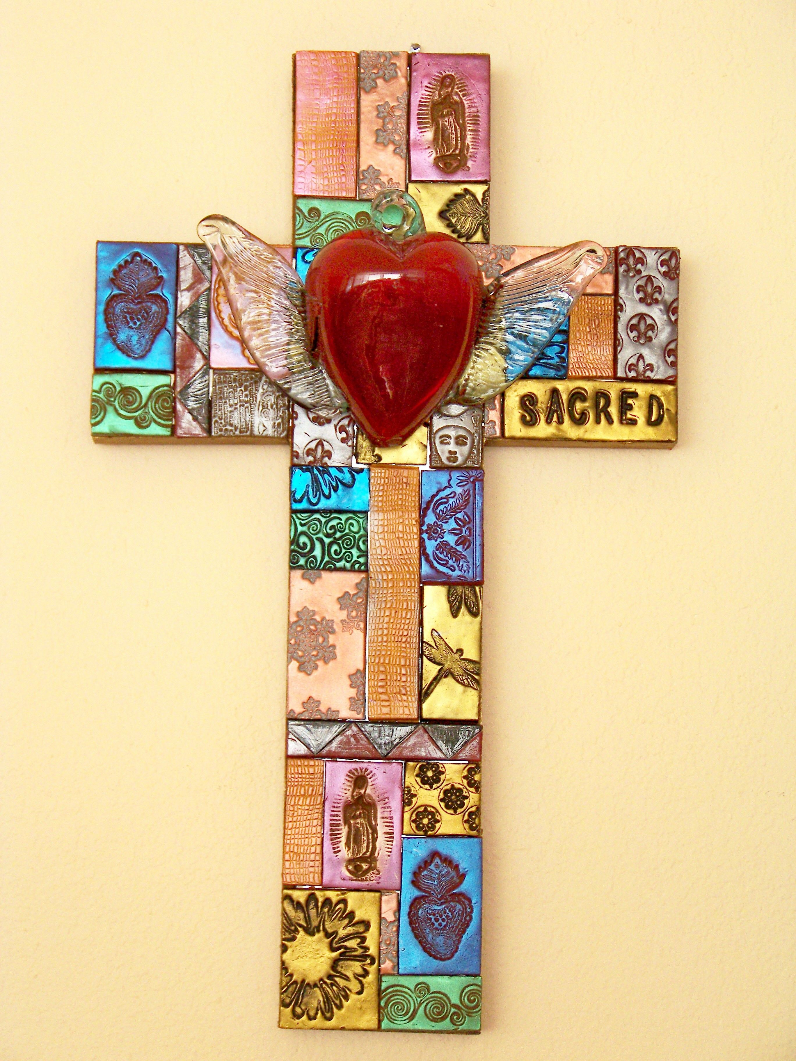 Natalie Baca - mosaic cross with glass heart | Mosaic crosses ...