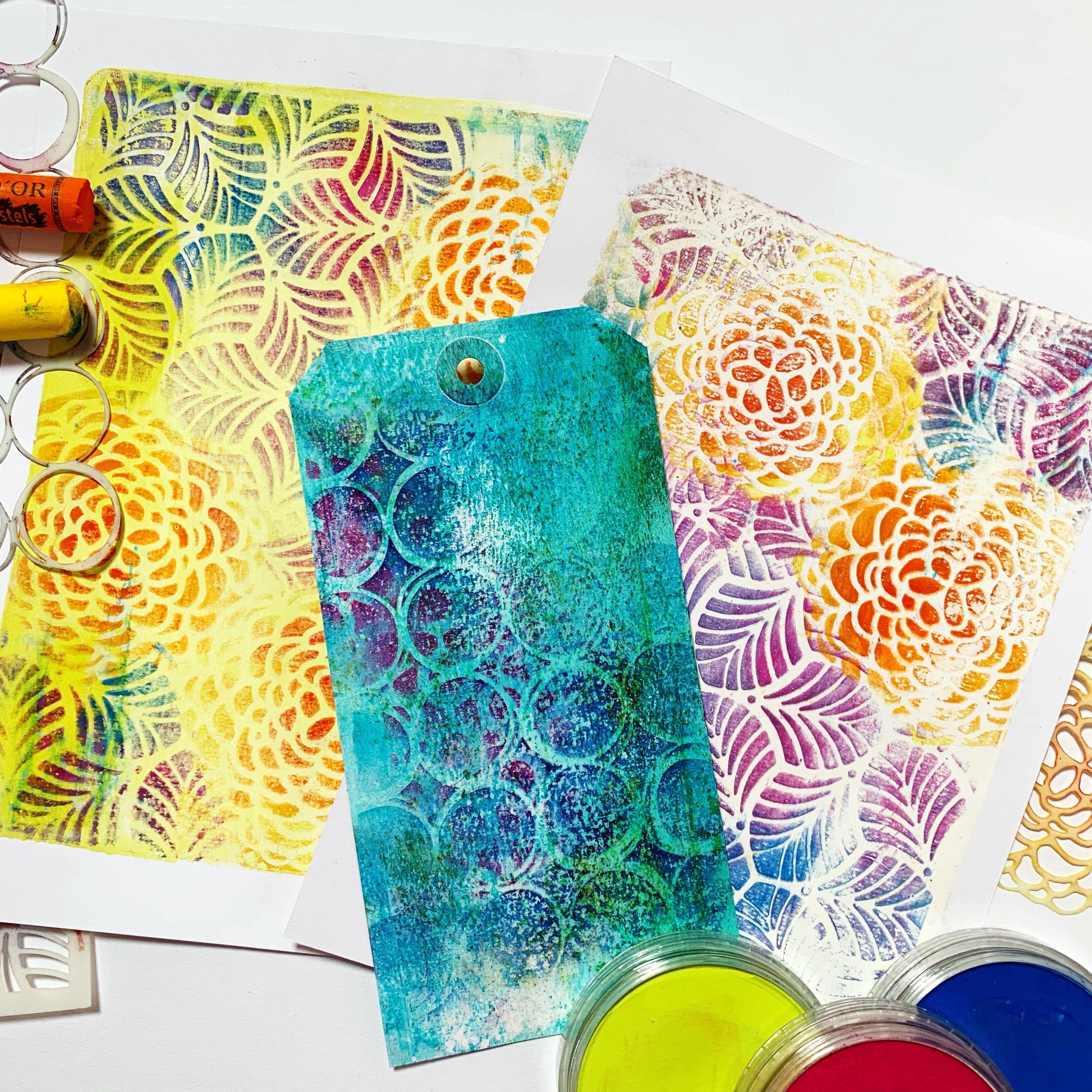 Gelli Arts Printing With Stencils And Pastel Gelli Plate Art Gelli Plate Techniques Gelli Printing Tutorials