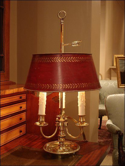 Empire Style Gilt Brass Bouillotte Lamp Traditional
