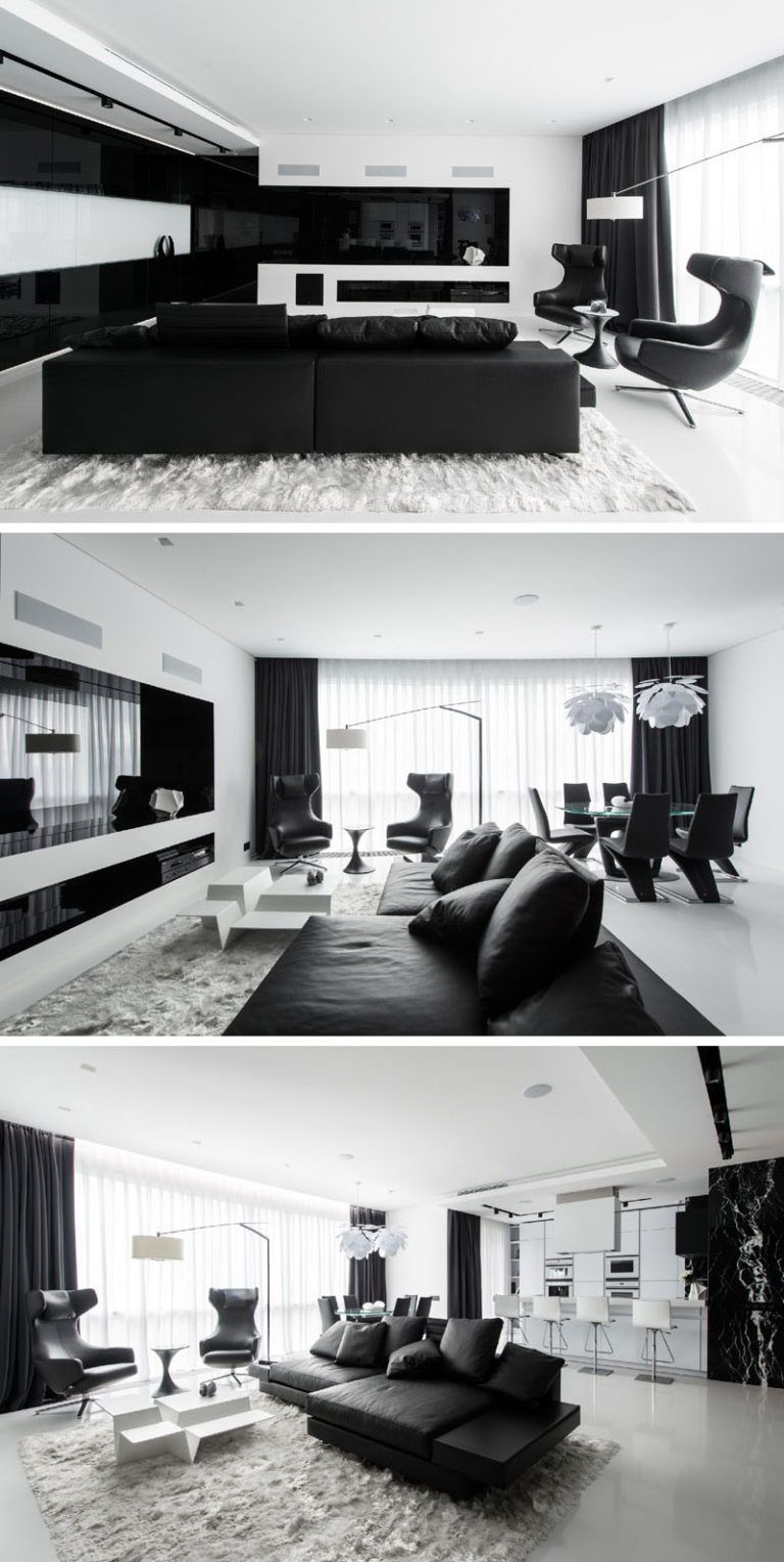 In The Living Room Of This Black And White Themed Apartment The