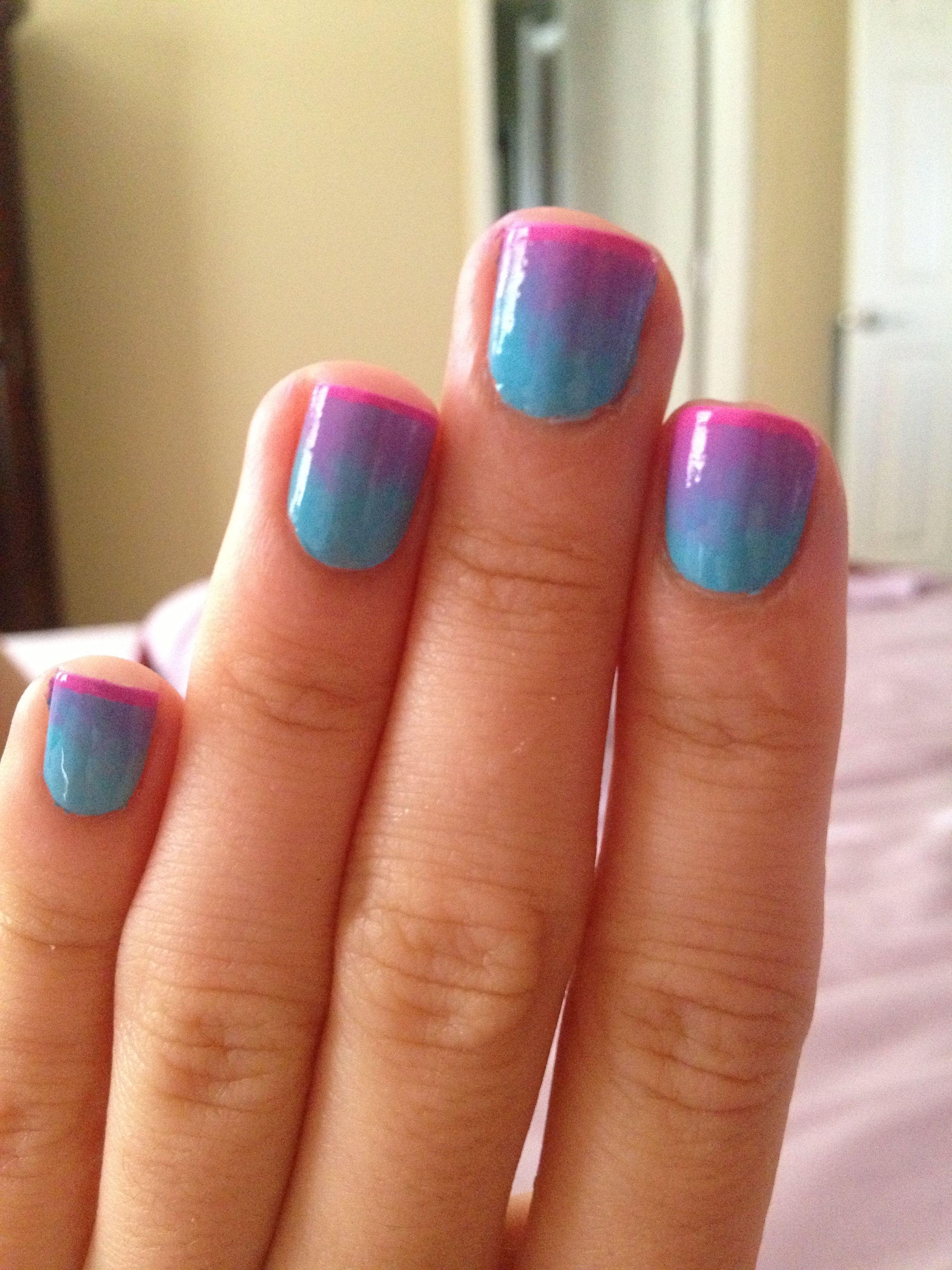 two tone nail polish art