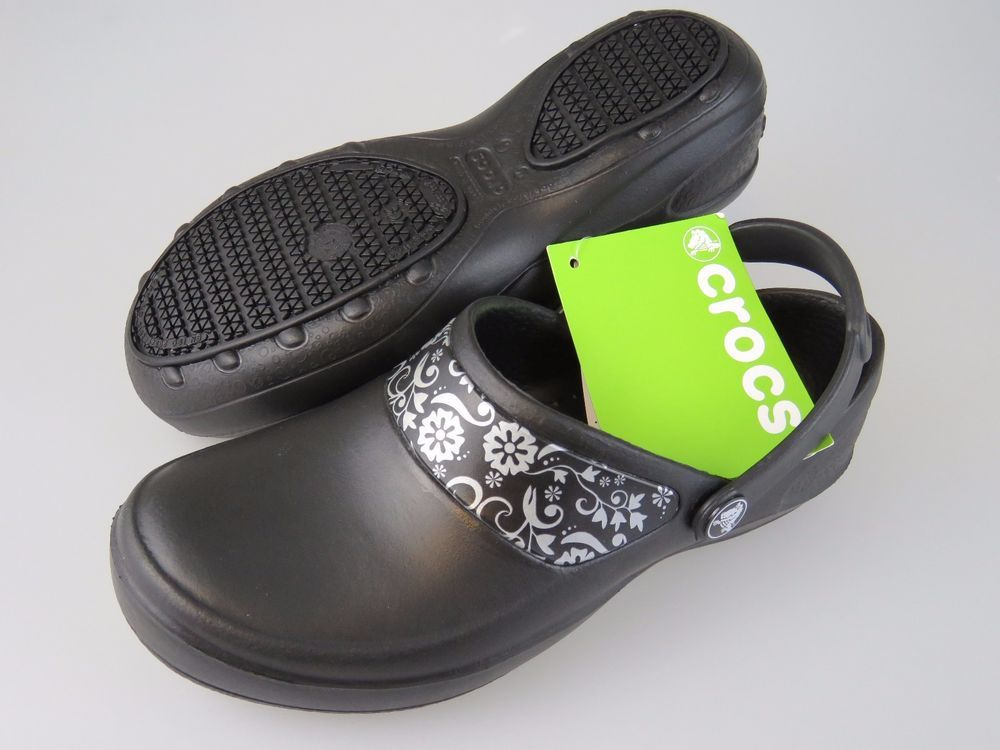 5bdbfc638a75b5 CROCS Mercy Work Black Silver Roomy Fit Slip Resist Shoes Women s US Size 6  NEW  Crocs  Clogs  WeartoWork