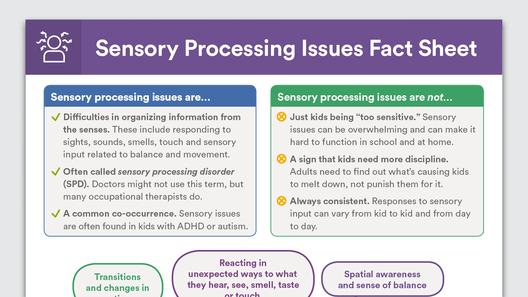 How Sensory Processing Issues Affect >> Sensory Processing Issues Fact Sheet Special Kiddo Info Sensory