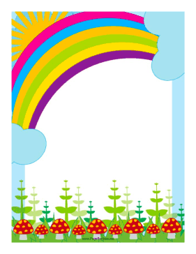 colorful page borders. This colorful border includes the sun peeking over edge of a  rainbow Free