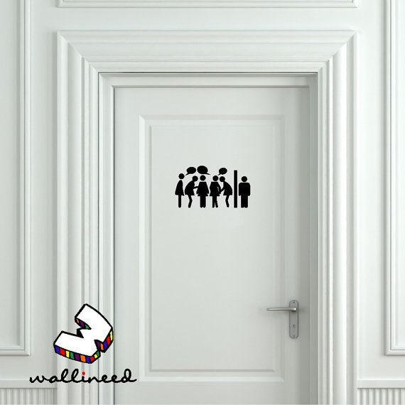 Toilet Entrance Sign Door Stickers Bathroom Home Art Washroom Playroom Home