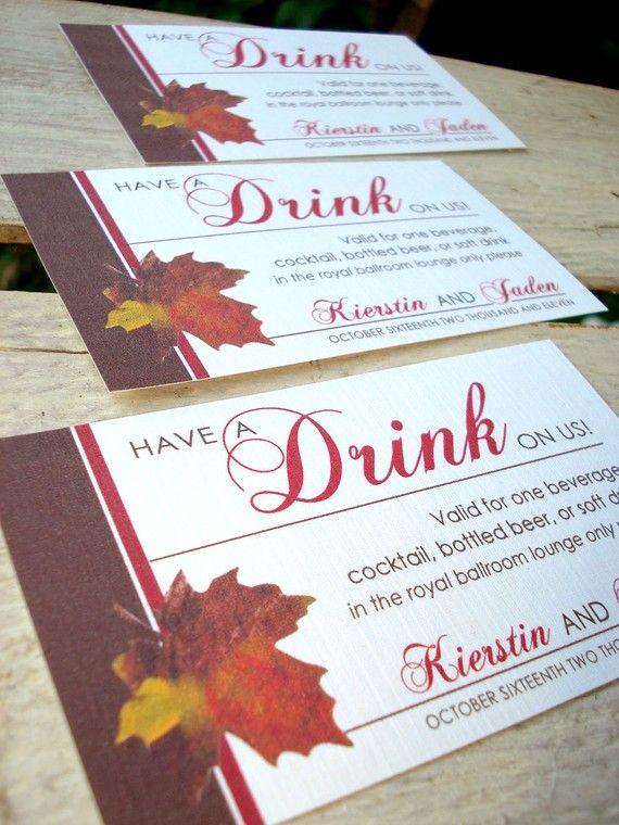 Autumn Leaf Wedding Drink Ticket Card By Envymarketing On Etsy 1 50