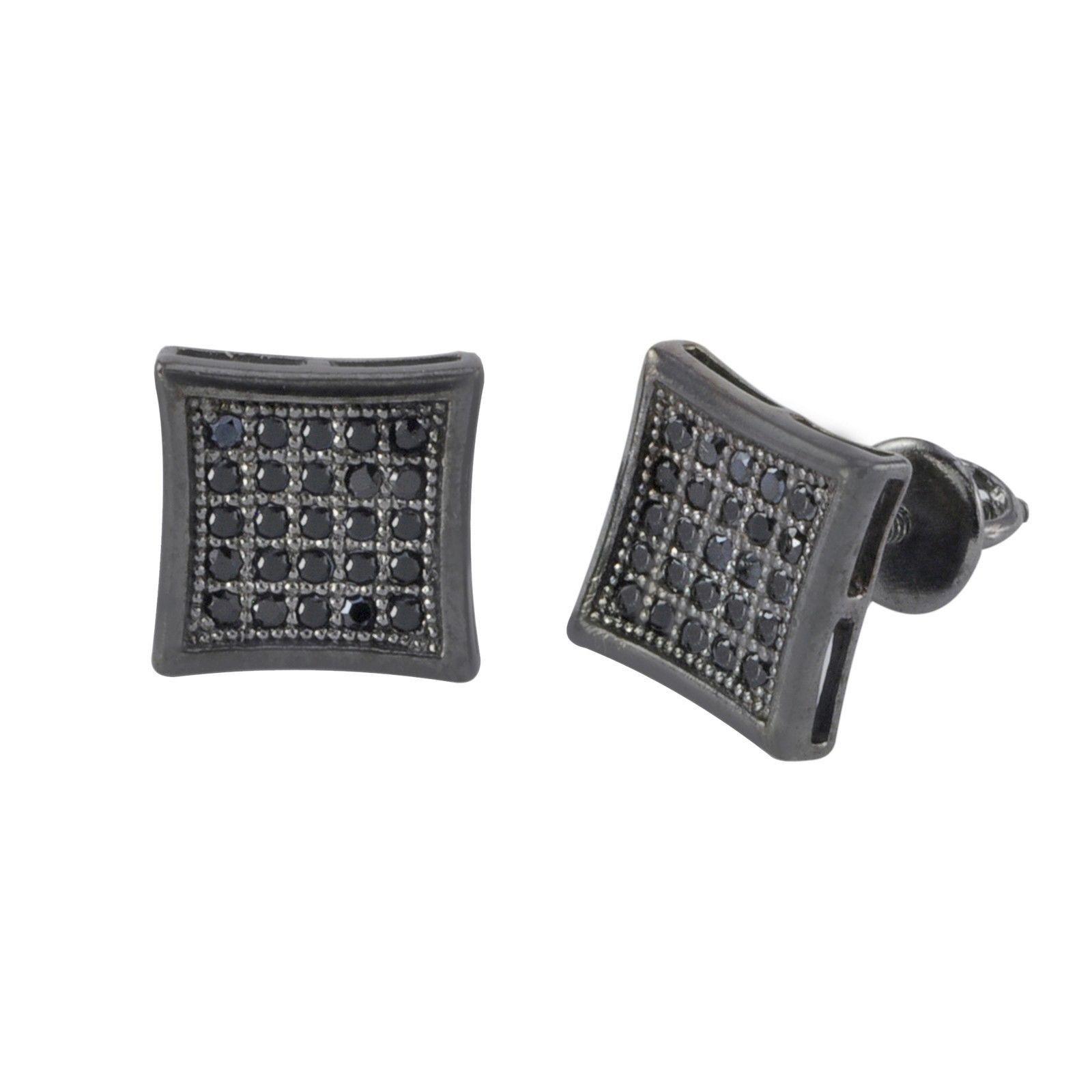 Micropave Screwback Earrings Black CZ Cubic Zirconia 9mm Kite Shaped