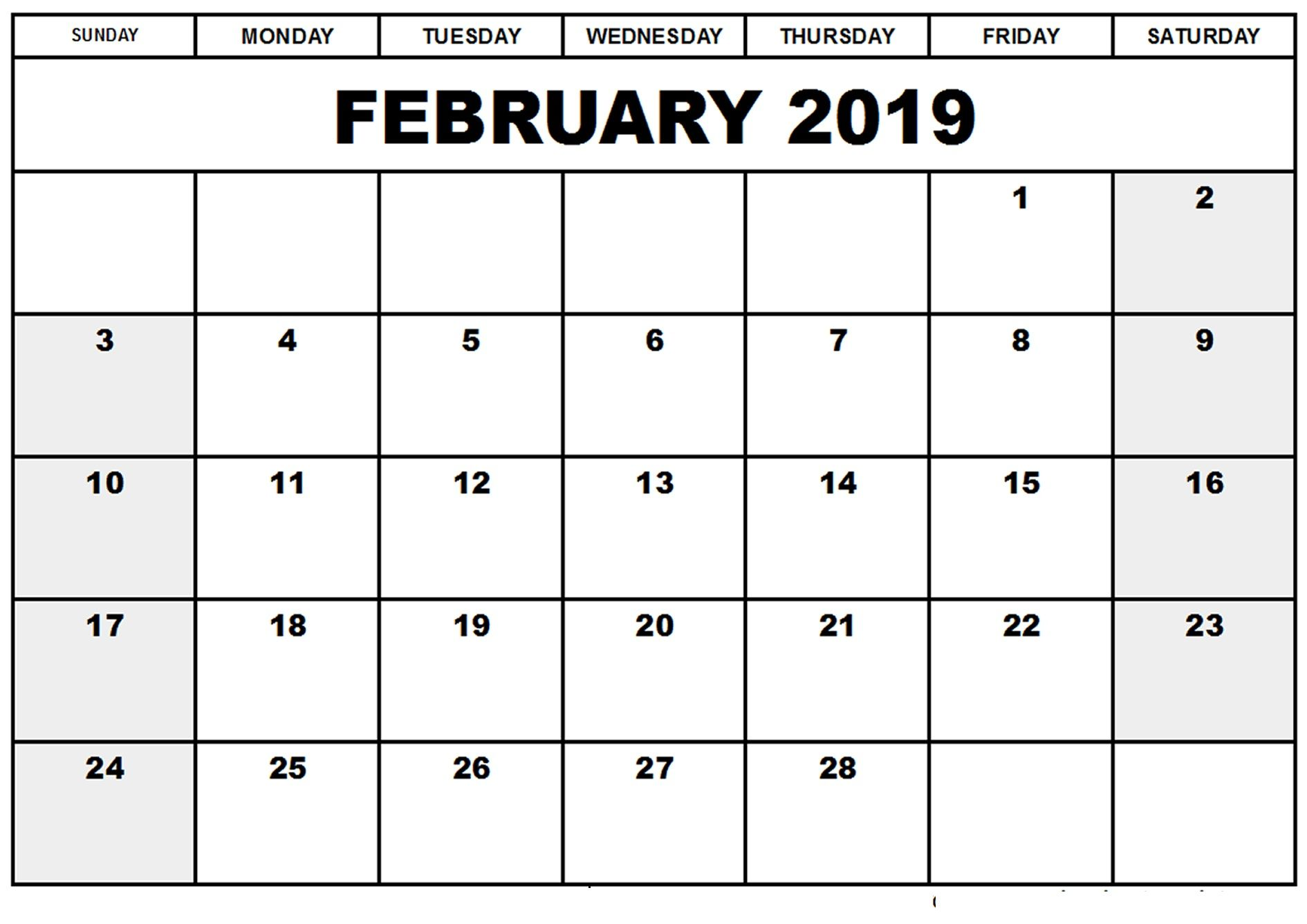 February Calendar 2019 Template February Calendar 2019 Manage Work