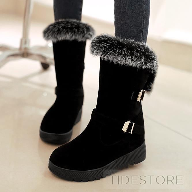 Fur Buckled Flat Heel Boots
