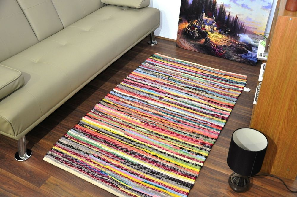 Small Extra Large 100 Cotton Handmade Multi Colour Chindi Rug Area Rag Rugs Mat In