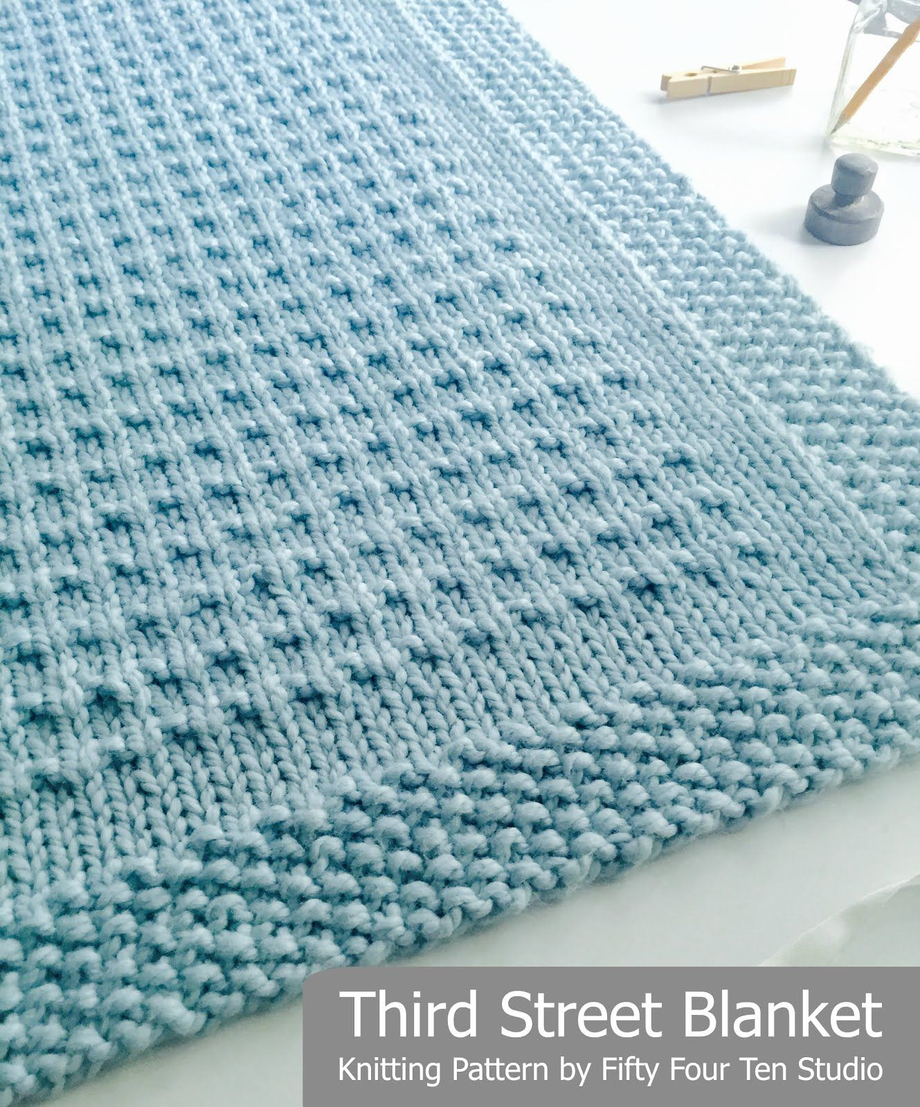 Third Street Blanket knitting pattern by Fifty Four Ten Studio. Knit with sup...