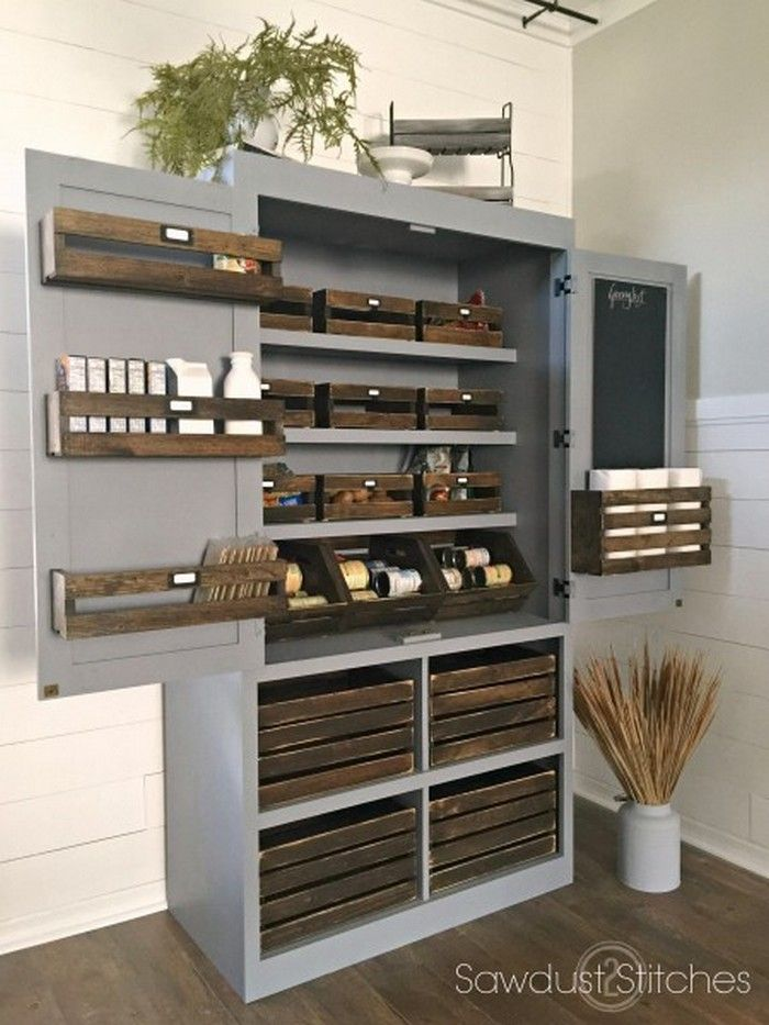 Build  freestanding pantry this has great neutral color and just the right amount of rustic with crate wood but  would probably do dark stained also pinterest crates