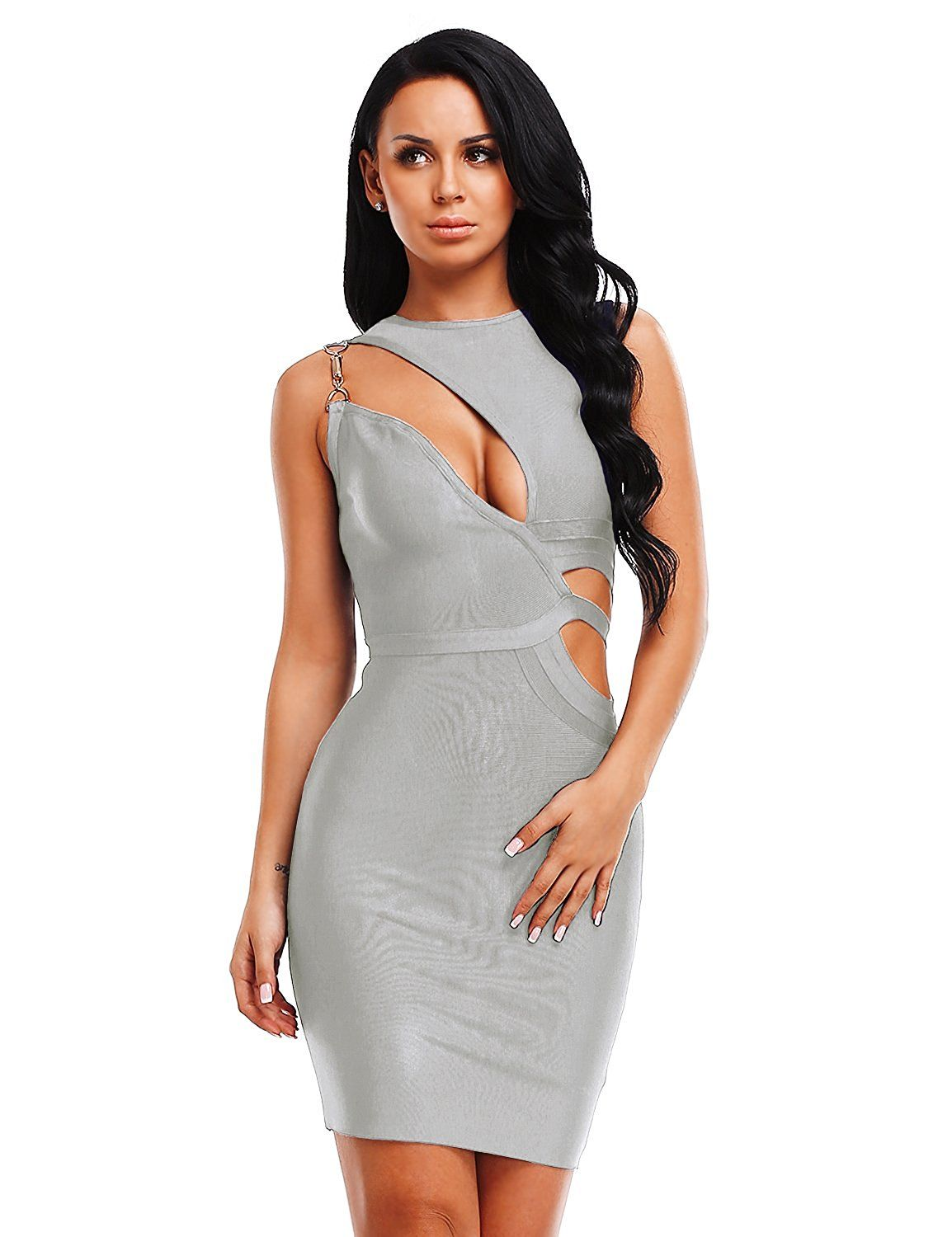 be82123d958 Amazon.com: Hego Women's Grey Cut Out Club Party Bandage Bodycon Dress  H4109: Clothing