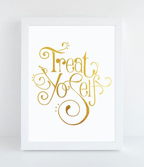 Treat Yo'Self - Typographic Print - Hand-Drawn Typography - Parks and Recreation - Funny Wall Art - Home Decor - Typography - Wall Quote
