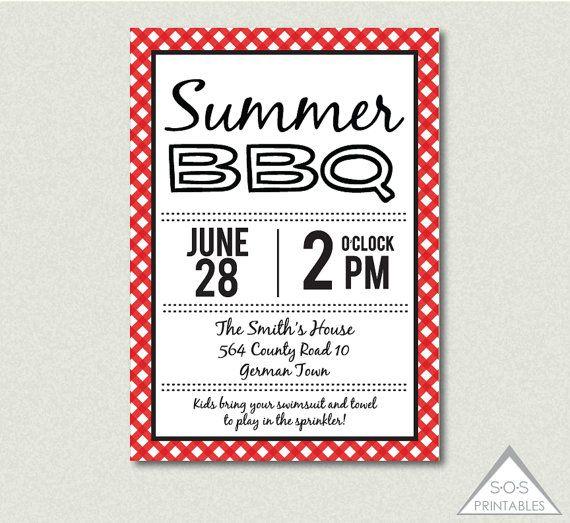 Summer BBQ Invitation, Backyard BBQ, Barbeque Invite, Printable Invitation, Digital File
