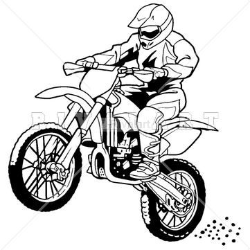 Sports Clipart Image Of A Motocross Rider On A Dirt Bike Disegni