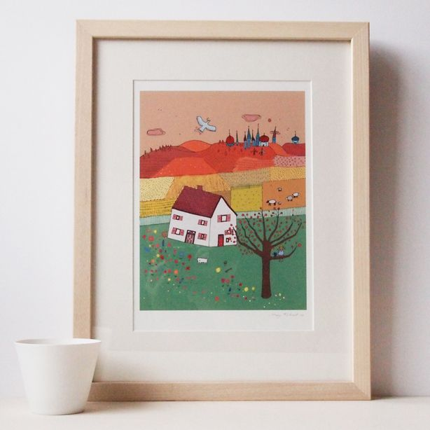 An autumnal fairytale scene. Fairylands by Mary Kilvert  Open edition, Giclée Print signed by Mary Kilvert.  | marykilvert.com