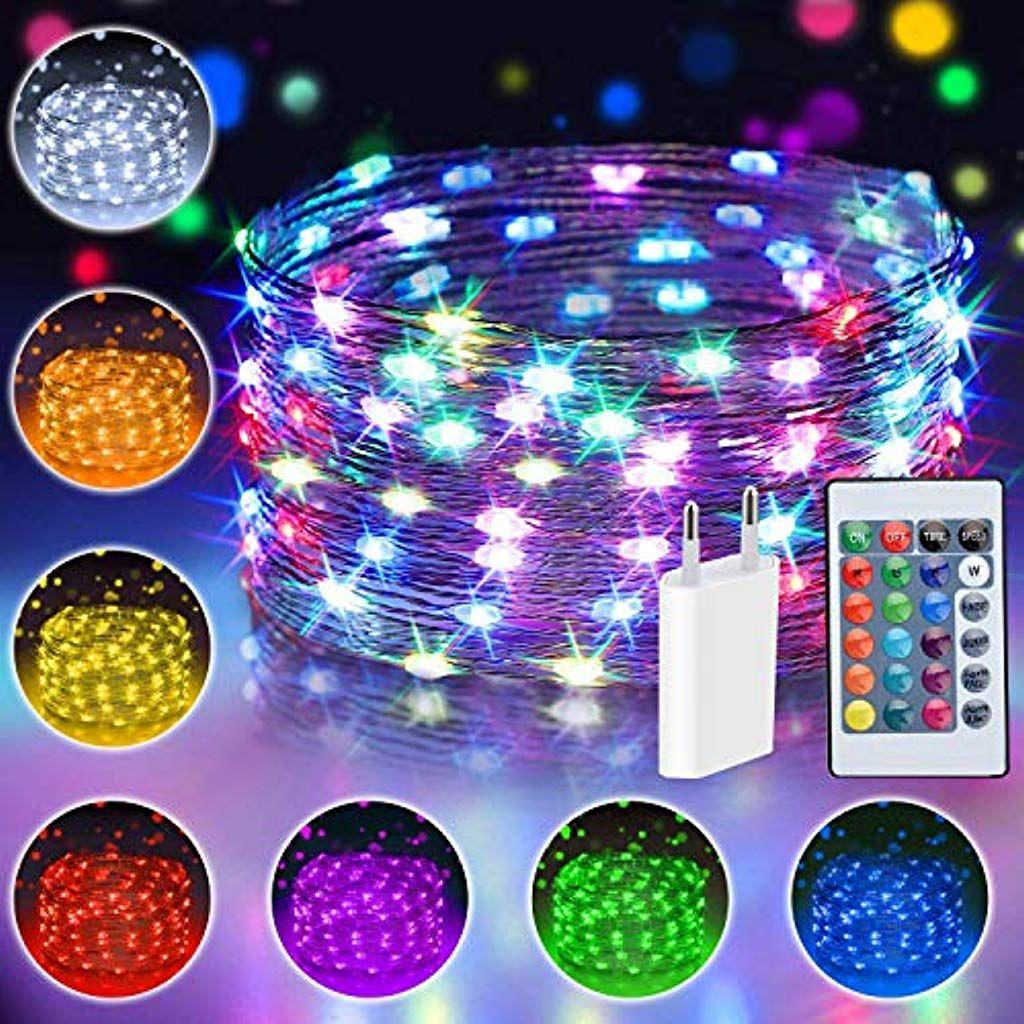 10m 100 Led Bunt Lichterkette Aussen 16 Farben Usb Kupferdraht Lichterkette Wasserdichte Mit Fernbedienung 4 In 2020 Lichterkette Bunte Lichterkette Lichterkette Aussen