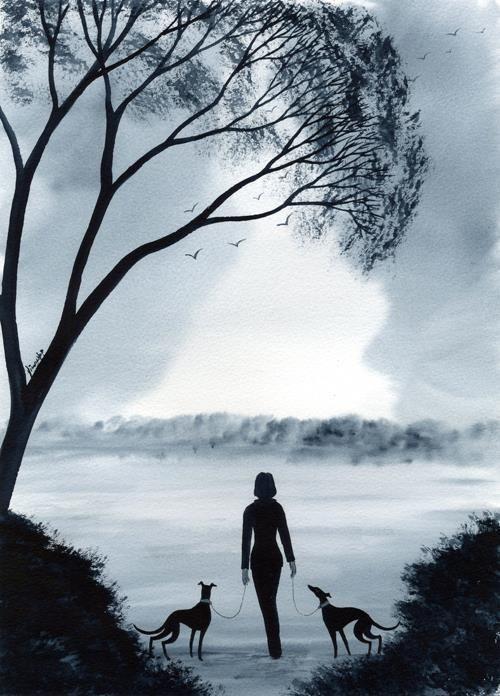7277 DIANNE HEAP GREYHOUND WHIPPET LURCHER DOGS PAINTING WOODLAND TREES WALK ART
