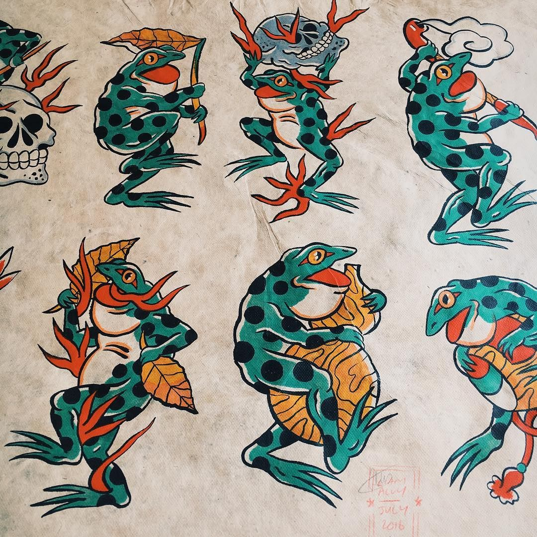 Part of a big sheet of japanese frogs i painted back in for Japanese tattoo flash