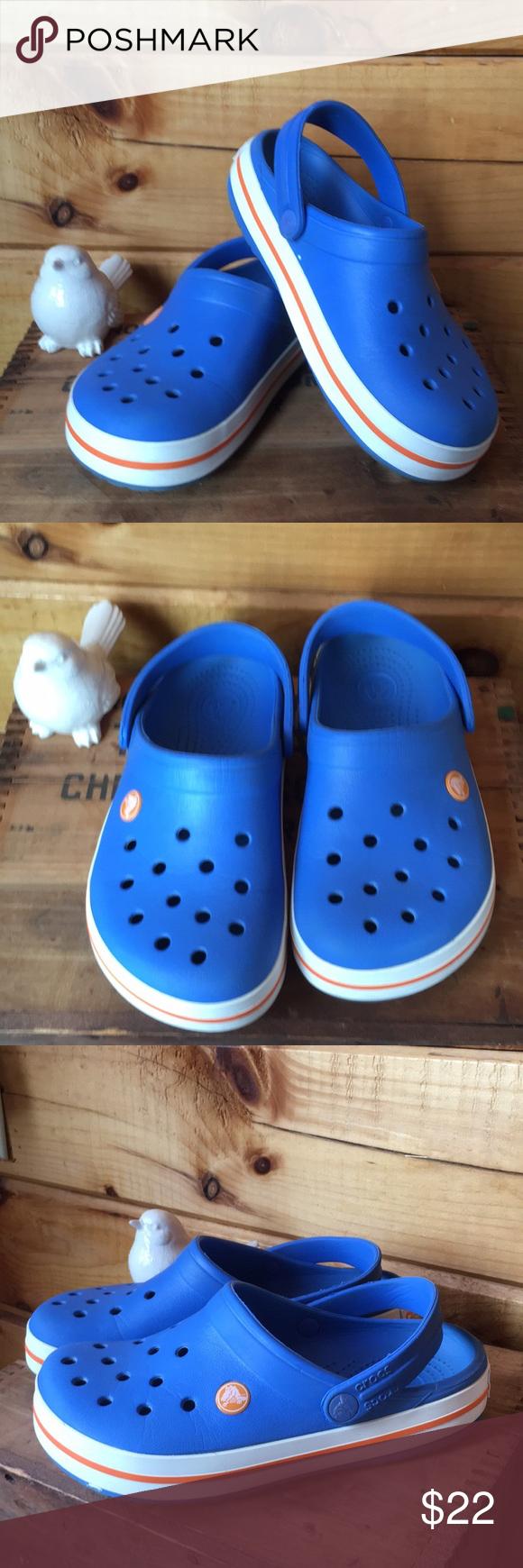 da3326fb9 Crocs clog Crocband clog in blue and white with orange stripe. Unisex