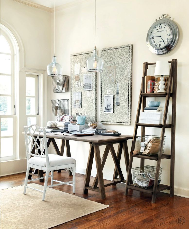 Classic Sawhorse Desk In A Neutral Office With Silver