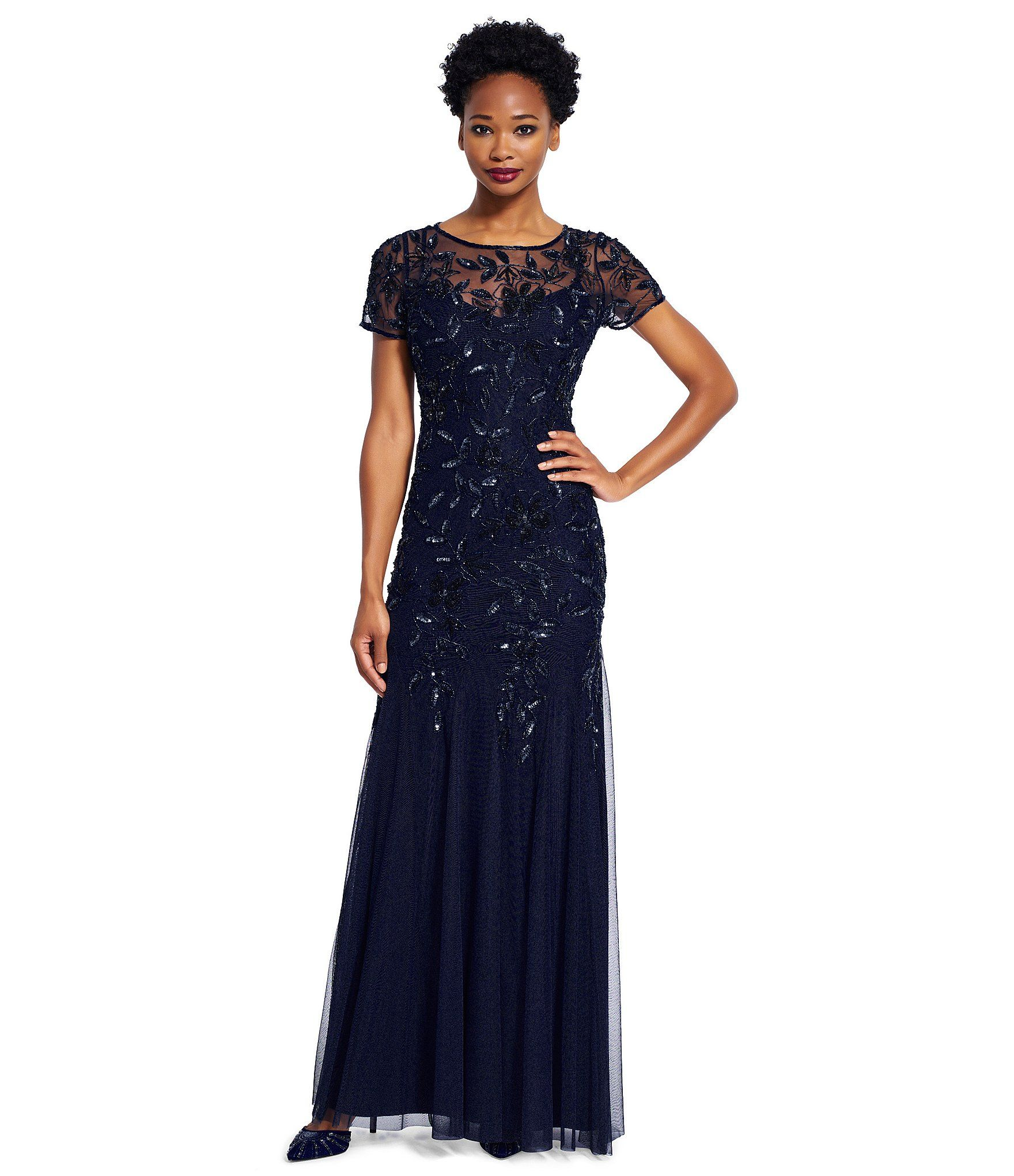 Adrianna Papell Floral Beaded Gown Dillards Adrianna Papell And