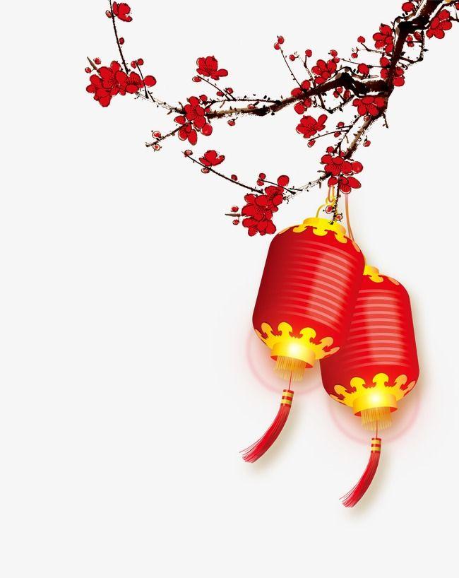 Plum Lanterns Background Year Chinese Year Png