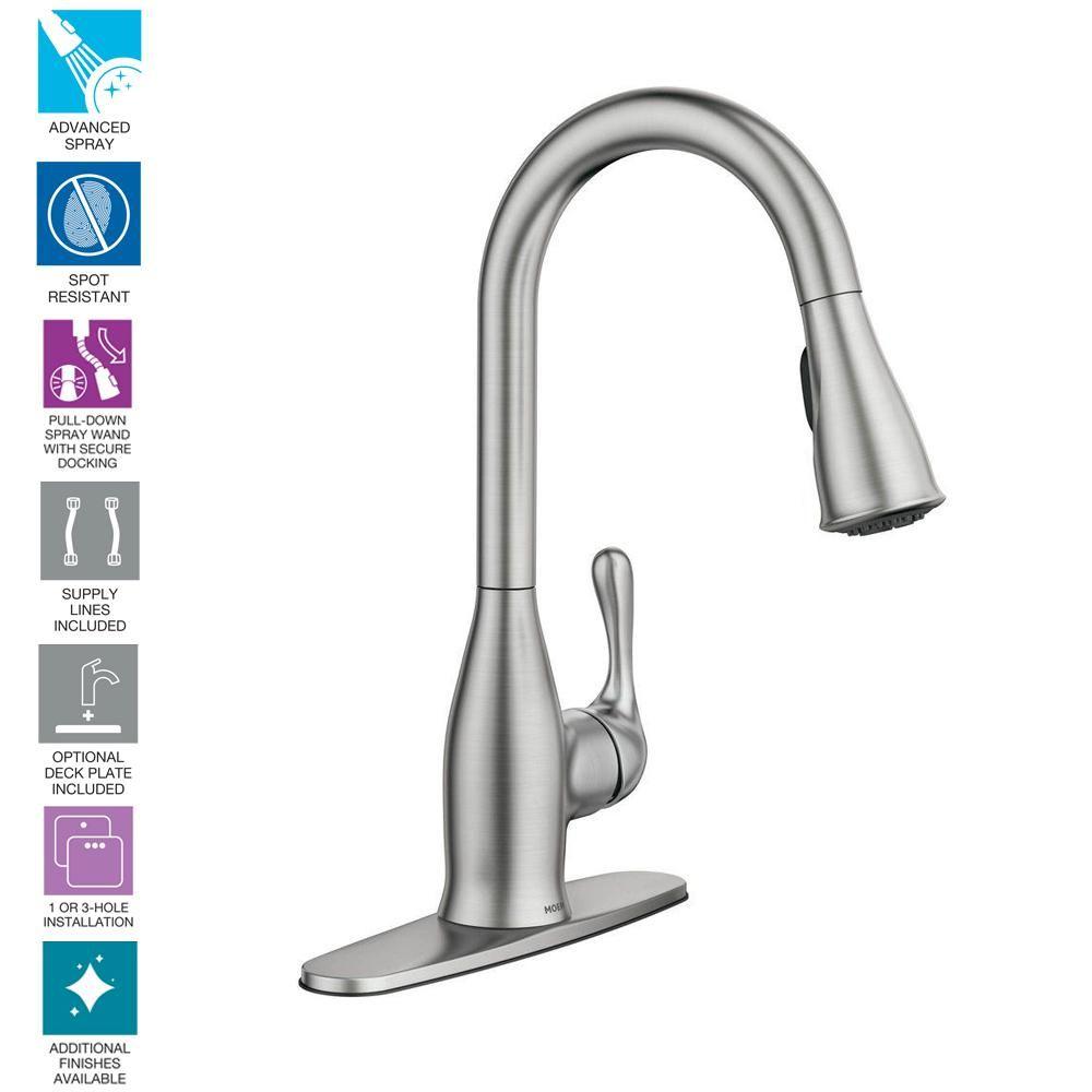 Moen Kaden Single Handle Pull Down Sprayer Kitchen Faucet With