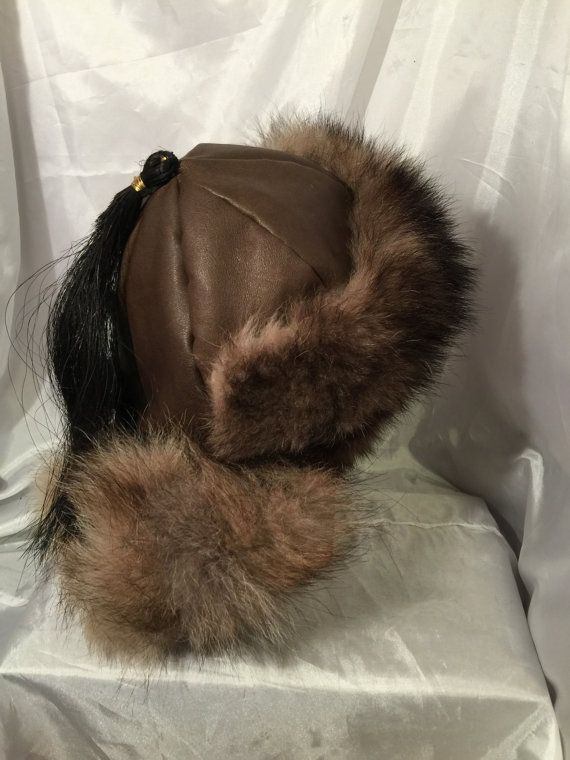 Mongolian Russian Norse Black timber wolf fur hat by Micheleshats fef8e0d455d